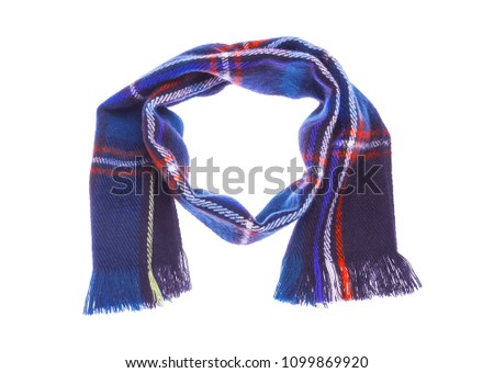 Blue warm checkered scarf. Isolated on white background. #1099869920