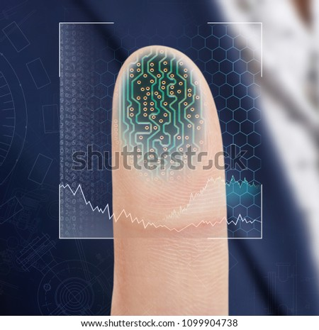 Finger pressing on virtual button with dactyloscopy scanner. #1099904738
