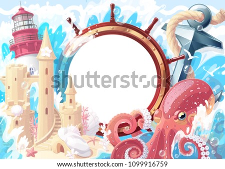 Summer maritime collage frame template for photo. Lighthouse, anchor, octopus, handwheel, sandcastle sea ocean. Nautical, aqua, marine, naval illustration. Adventure travel surreal happy clipart