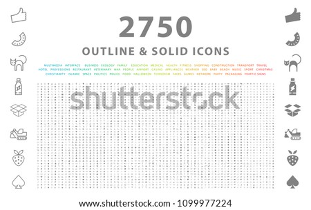 Set of 2750 Outline and Solid Icons on White Background . Vector Isolated Elements  Royalty-Free Stock Photo #1099977224