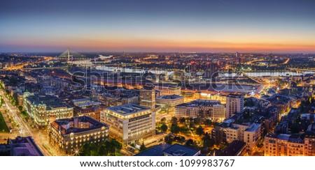 Ada,  Gazela bridges, Belgrade Waterfront, Government of Serbia, Sava river by night panorama with city lights #1099983767