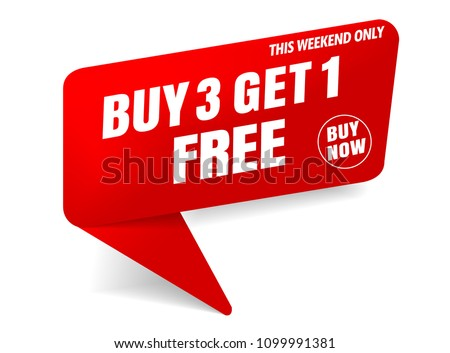 buy 3 get 1 free sale banner red