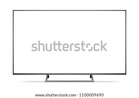 TV 4K flat screen lcd or oled, plasma realistic illustration, White blank HD monitor mockup, Modern video panel black flatscreen with clipping path #1100009690