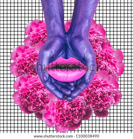 Purple hands holding a woman's lips on flowers.  Contemporary art collage. Concept of memphis style posters. Abstract surrealism and minimalism