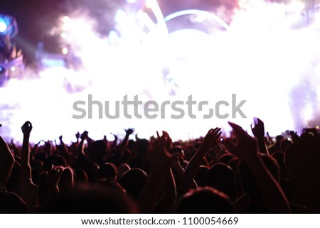 Defocused entertainment concert lighting on stage, blurred disco party and Concert Live #1100054669