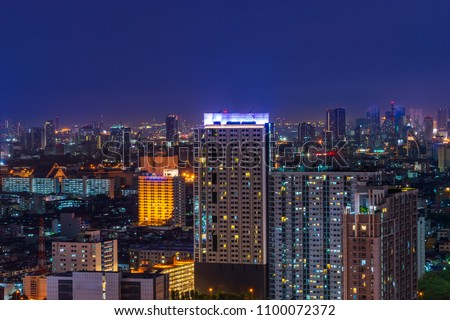 scenic of cityscape on skyling with twilight time background  #1100072372