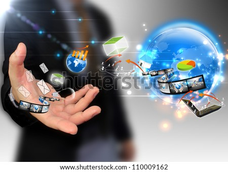 businessman holding ideas around the world social media