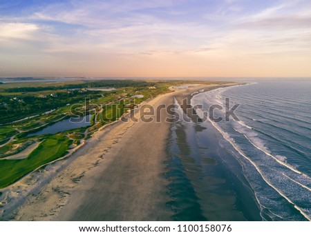 Flew the drone over the beach at sunset, taking this picture looking back at the Ocean Course on Kiawah Island, SC.
