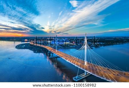 Panorama of Petersburg. Highway. Bridges of Petersburg. Aerial view of St. Petersburg. Panorama of Russian cities. Krestovsky Island. #1100158982