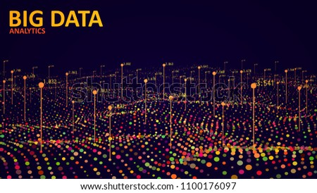 Big data visualization. Analytics data visualization. Futuristic wave infographics. Vector illustration. #1100176097