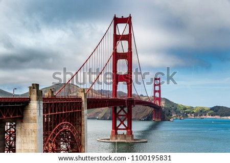 The famous Golden Gate Bridge in San Francisco California on a quiet May afternoon #1100195831