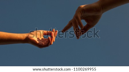 Romantic couple holding hands #1100269955