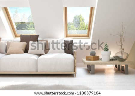 Idea of white room with sofa and summer landscape in window. Scandinavian interior design. 3D illustration #1100379104