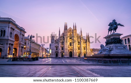 Duomo di Milano (Milan Cathedral) in Milan , Italy . Milan Cathedral is the largest church in Italy and the third largest in the world. It is the famous tourist attraction of Milan, Italy. #1100387669
