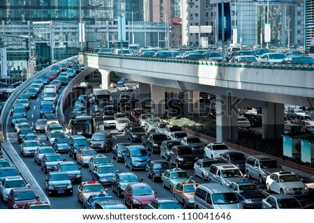 automobile congestion in the morning rush hour Royalty-Free Stock Photo #110041646