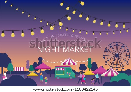 Night market, Summer fest, food street fair, family festival poster and banner colorful design Royalty-Free Stock Photo #1100422145