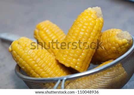 boiled corn in pan #110048936