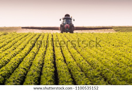 Tractor spraying pesticides on soybean field with sprayer at spring #1100535152