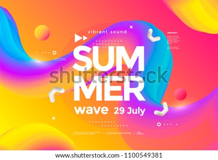 Electronic music fest summer wave poster. Club party flyer. Abstract gradients waves music background.