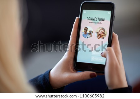 caucasian woman finding connection with other singles on dating app, modern lifestyle relationship #1100605982
