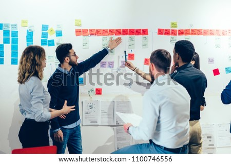 Intelligent male professional pointing on colorful stickers with text message glueded on wall and discussing information with creative multicultural colleagues having brainstorming meeting in office #1100746556