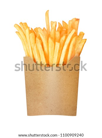 french fries in a paper cup on a white background #1100909240