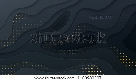 Black paper cut background. Abstract realistic papercut decoration textured with wavy layers and golden halftone effect pattern. 3d topography relief. Vector illustration. Cover layout template.