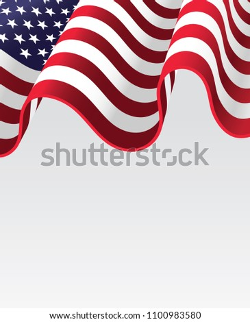 American waving flag for 4th of July. American Independence day #1100983580