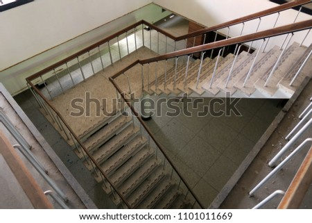 Staircase inside an abandoned building. #1101011669