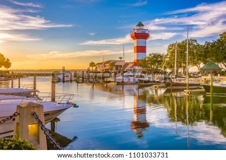 Hilton Head, South Carolina, lighthouse at dusk. #1101033731