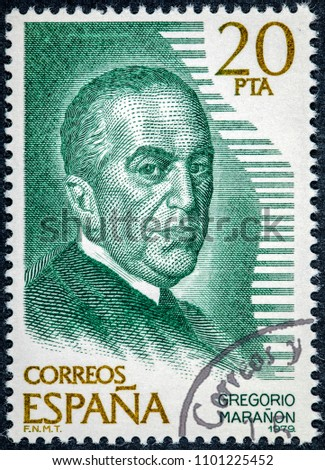 SPAIN - CIRCA 1979: stamp printed by Spain, shows Gregorio Maranon #1101225452