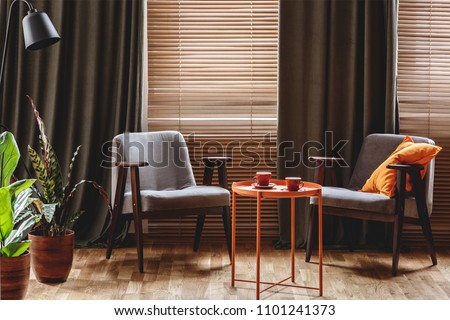 Vintage armchairs, orange coffee table with two cups, plants standing by the window with curtain and blinds in a living room interior #1101241373
