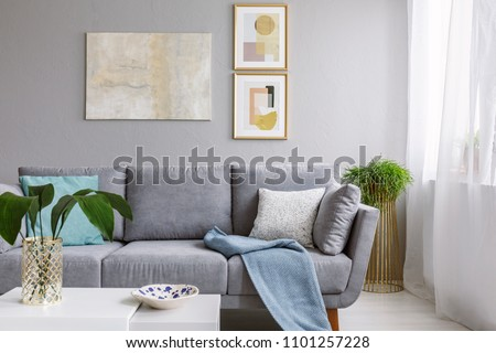 Real photo of a grey sofa standing in a stylish living room interior behind a white table with leaves and in front of a grey wall with posters #1101257228