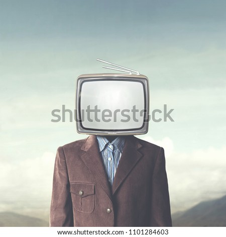 surreal addicted man with television on his head #1101284603