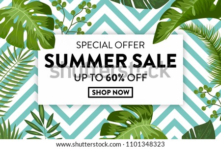 Summer Sale banner with exotic jungle plant, tropical exotic palm leaves on black and white geometric background. Discount design background with jungle palm Leaves. Nature wallpaper