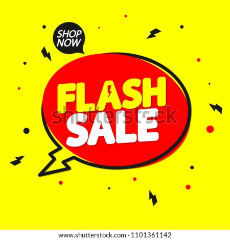 Flash Sale, banner design template, discount speech bubble tag, vector illustration #1101361142