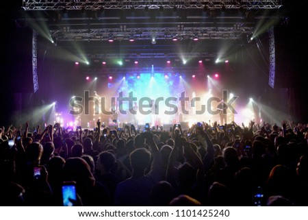 KYIV, UKRAINE - MAY 25, 2018: Singer T-Fest during a concert in Stereo Plaza #1101425240