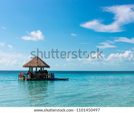 Tiki bar floating on tropical blue water #1101450497
