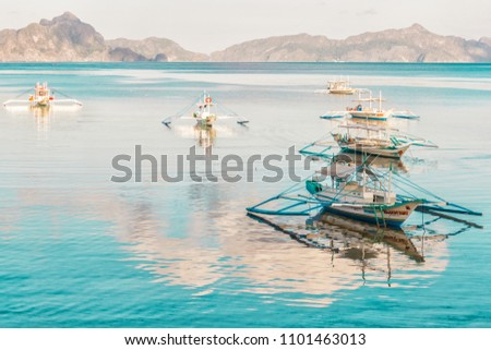 tropical landscape with traditional boats of the Philippines. Elnido, the island of Palawan. 23.04.18 #1101463013
