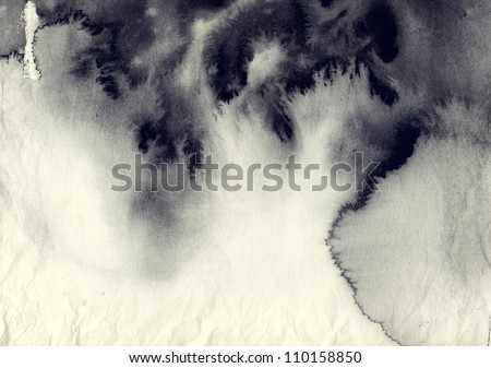 Abstract ink painting on grunge paper texture. Royalty-Free Stock Photo #110158850