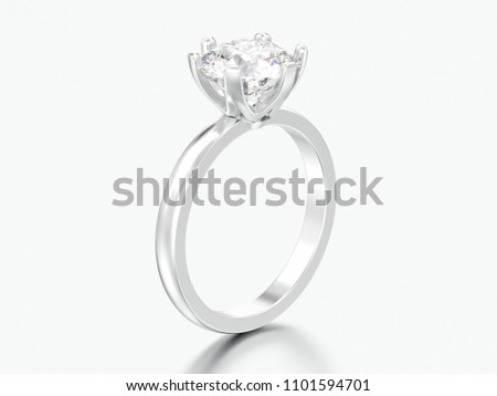 3D illustration silver traditional solitaire engagement diamond ring on a grey background #1101594701