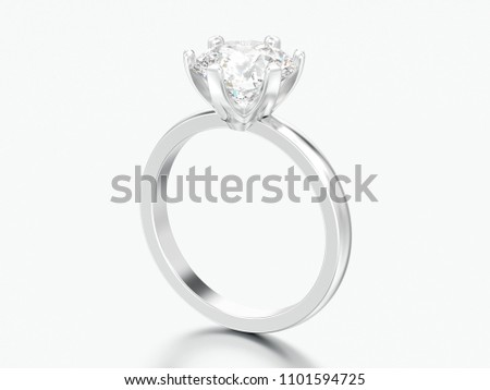 3D illustration silver traditional solitaire engagement diamond ring on a grey background #1101594725