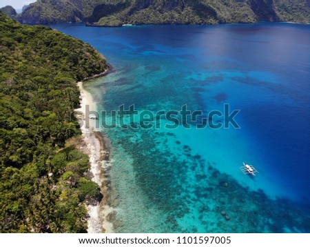 Paradise Islands, view of the beach with boats and beautiful mountains, Philippine Islands #1101597005