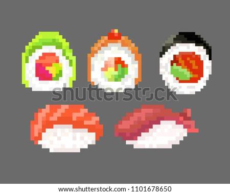 sushi set, pixel image