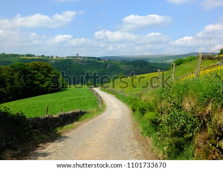 long curved cobbled stone stone road running downhill in beautiful yorkshire dales countryside with green summer meadows with woodland valley in the distance and blue sky with clouds #1101733670