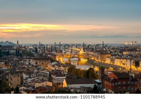 Sunset in Florence, Italy #1101788945