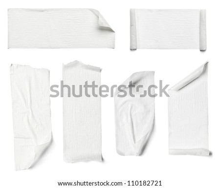 collection of  various adhesive tape pieces on  white background #110182721