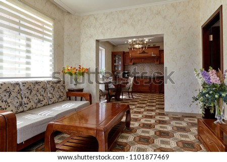 living room with a beautiful interior #1101877469