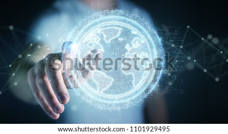 Businessman on blurred background using globe network hologram with America Usa map 3D rendering #1101929495
