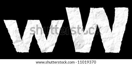 Alphabet on crumple white paper #11019370
